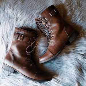 American Eagle Brown Zipper Boots 6.5